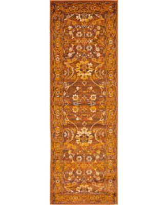 Linport Lin3 Terracotta 2' x 6' Runner Area Rug