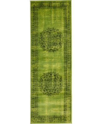 Linport Lin5 Sage Green 2' x 6' Runner Area Rug