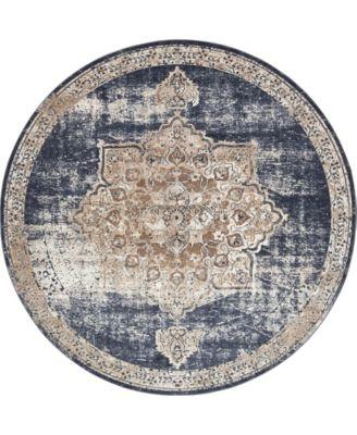 Odette Ode1 Dark Blue 8' x 8' Round Area Rug