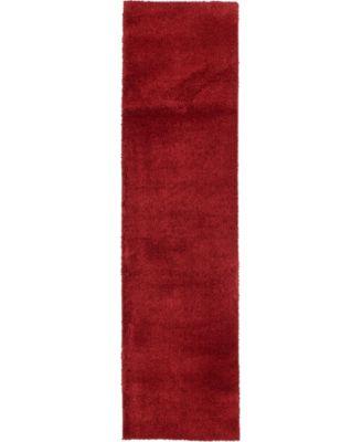 "Salon Solid Shag Sss1 Red 2' 7"" x 10' Runner Area Rug"