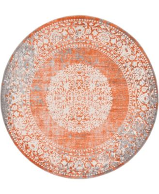Norston Nor4 Terracotta 6' x 6' Round Area Rug