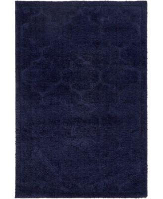 Filigree Shag Fil2 Navy Blue 4' x 6' Area Rug