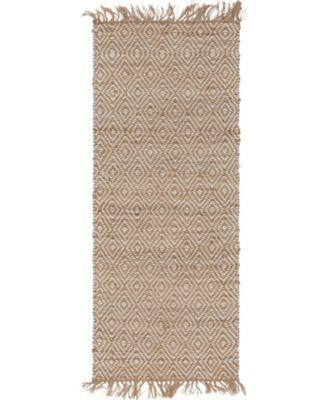 "Braided Tones Brt3 Natural/White 2' 6"" x 6' Runner Area Rug"