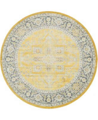 "Kenna Ken1 Yellow 8' 4"" x 8' 4"" Round Area Rug"