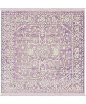 Norston Nor1 Purple 4' x 4' Square Area Rug