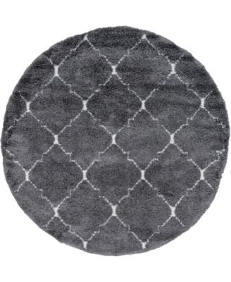 Fazil Shag Faz5 Gray 8' x 8' Round Area Rug