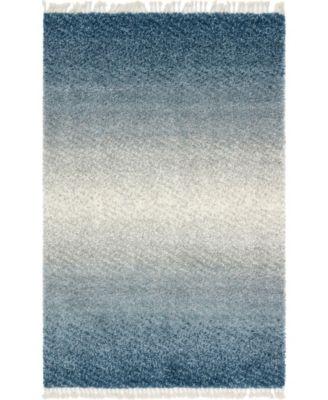 Lochcort Shag Loc5 Blue 4' x 6' Area Rug