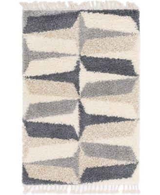 Lochcort Shag Loc6 Gray 4' x 6' Area Rug
