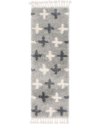 """Lochcort Shag Loc7 Light Gray 2' 2"""" x 6' Runner Area Rug"""