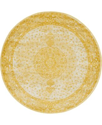 Mobley Mob1 Yellow 5' x 5' Round Area Rug