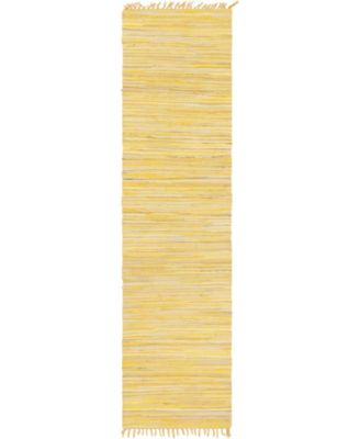"Jari Striped Jar1 Yellow 2' 7"" x 9' 10"" Runner Area Rug"