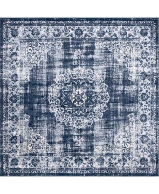 Anika Ani1 Navy Blue 8' x 8' Square Area Rug