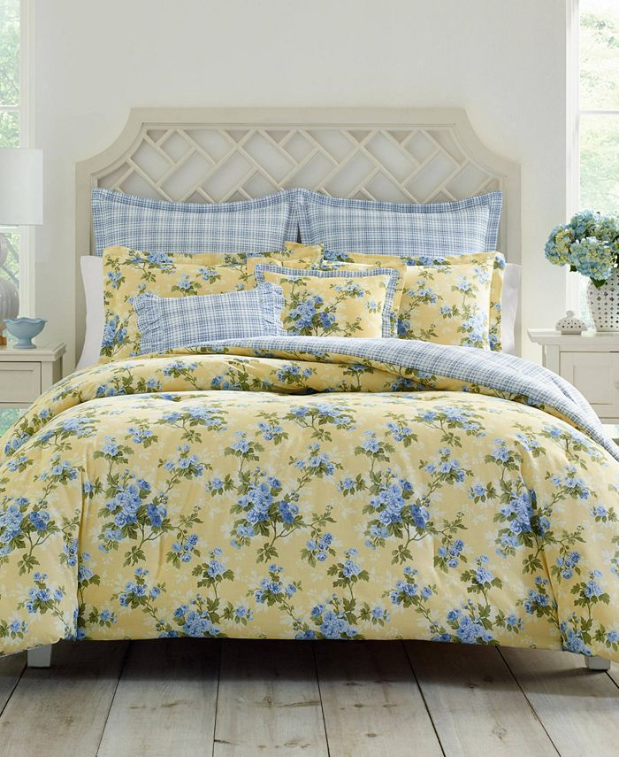 Laura Ashley - Cassidy Pastel Yellow Comforter Bonus Set, King