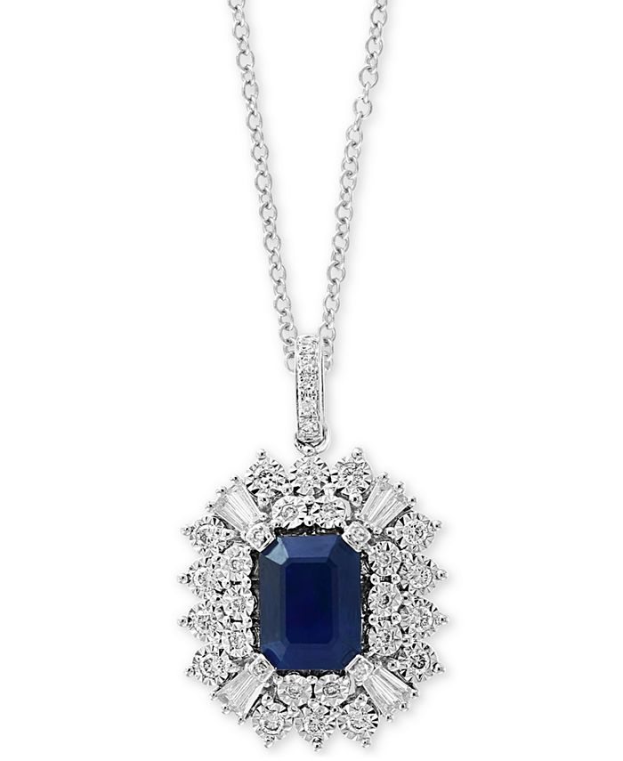 """EFFY Collection - Sapphire (1-1/2 ct. t.w.) & Diamond (3/8 ct. t.w.) 18"""" Pendant Necklace in 14k White Gold"""