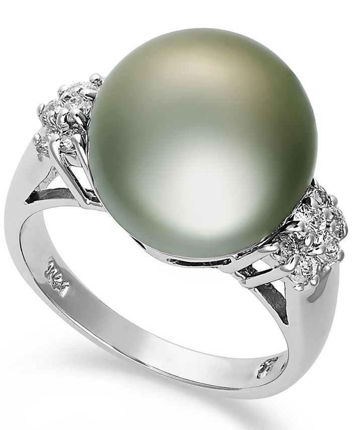 Macy's - 14k White Gold Ring, Tahitian Pearl (12mm) and Diamond (1/4 ct. t.w.) Ring