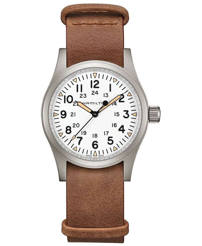 Hamilton - Men's Swiss Mechanical Khaki Field Brown Leather Strap Watch 38mm
