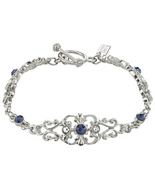 Downton Abbey Silver-Tone Crystal and Blue Crystal French Scroll Filigree Link Toggle Bracelet