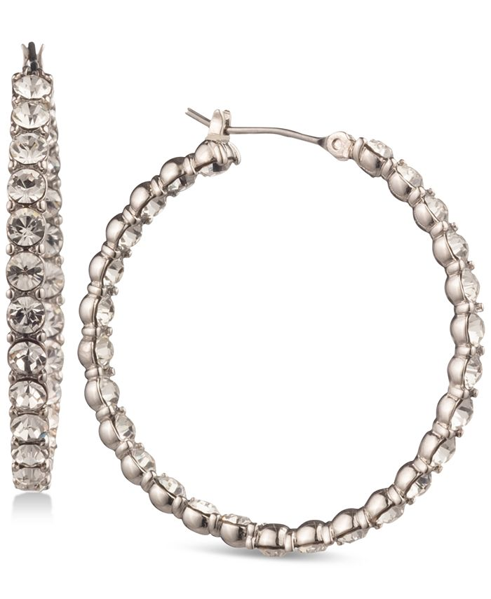 Givenchy - Silver-Tone Inside-Out Crystal Hoop Earrings