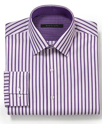 Sean john dress shirt big and tall purple rain stripe for Big and tall purple dress shirts