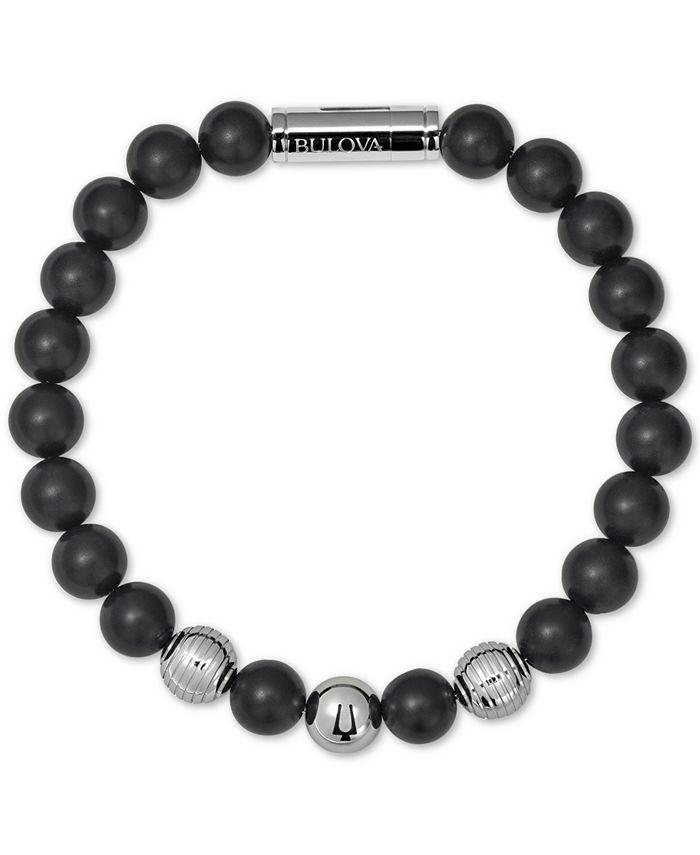 Bulova - Black Onyx Bead Bracelet in Stainless Steel