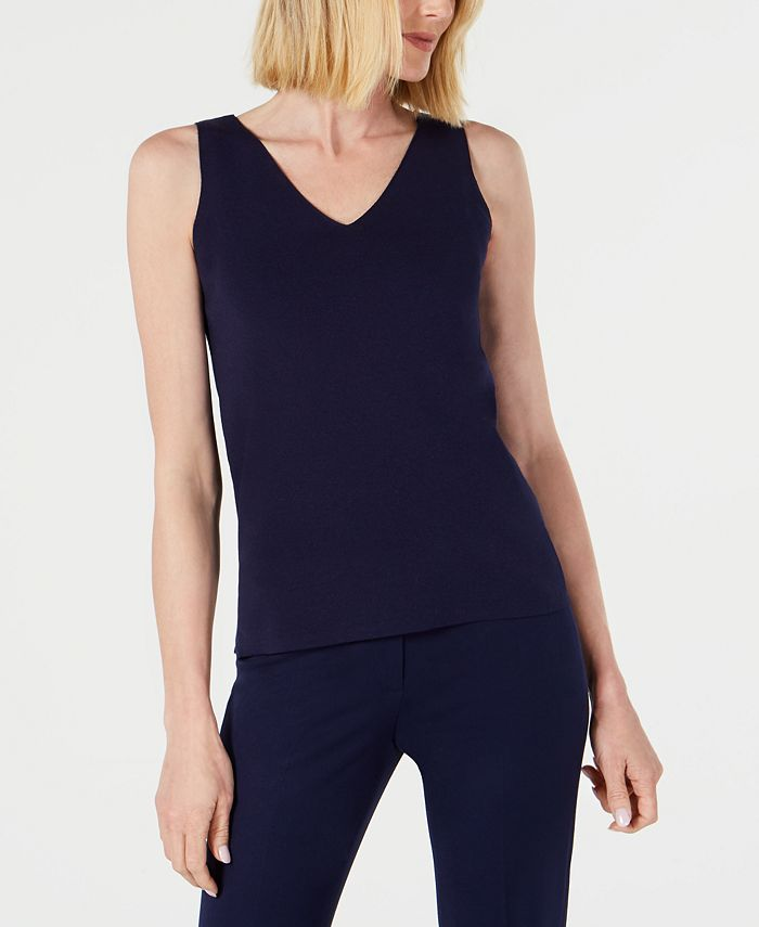 Anne Klein - Double V-Neck Sleeveless Top