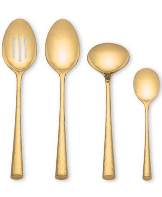Marchesa by Lenox Flatware 18/10, Imperial Caviar Gold 4 Piece Hostess Set