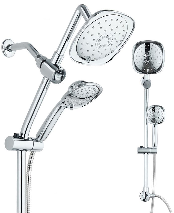 """HotelSpa - Spa Station 34"""" Adjustable Drill-Free Slide Bar with 48-setting Showerhead Combo & Height Extension Arm"""