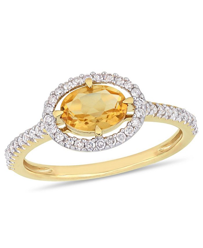 Macy's - Citrine (3/4 ct.t.w.) and Diamond (1/4 ct.t.w.) Halo Ring in 10k Yellow Gold
