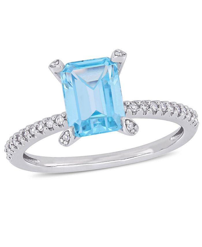 Macy's - Blue Topaz (2 ct.t.w.) and Diamond (1/10 ct.t.w.) Ring in 10k White Gold