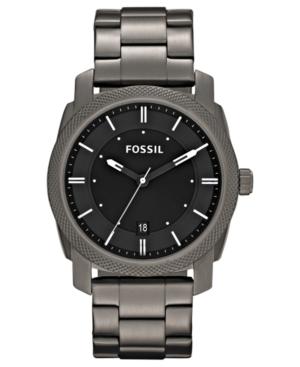 Fossil Men's Machine Gray Tone Stainless Steel Bracelet Watch 42mm FS4774