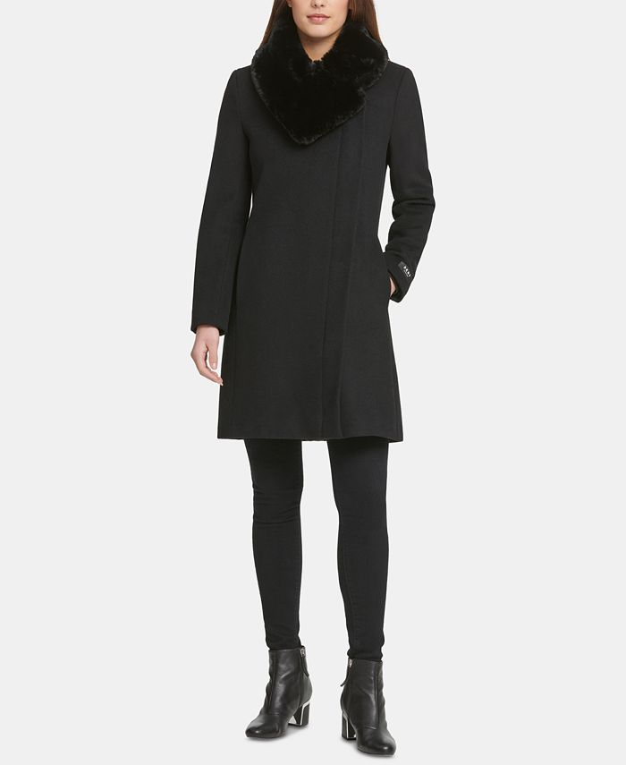 DKNY - Asymmetrical Faux-Fur-Collar Coat