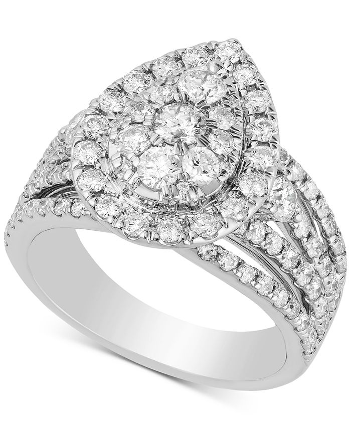 Macy's - Diamond Teardrop Cluster Engagement Ring (2 ct. t.w.) in 14k White Gold