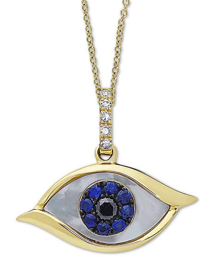 """EFFY Collection - Mother-of-Pearl, Sapphire (1/10 ct. t.w.) & Diamond Accent Evil-Eye 18"""" Pendant Necklace in 14k Gold"""