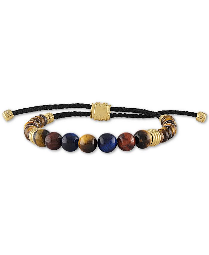 Esquire Men's Jewelry - Multicolor Tiger's Eye Bead Boho Bracelet in 14k Gold-Plated Sterling Silver
