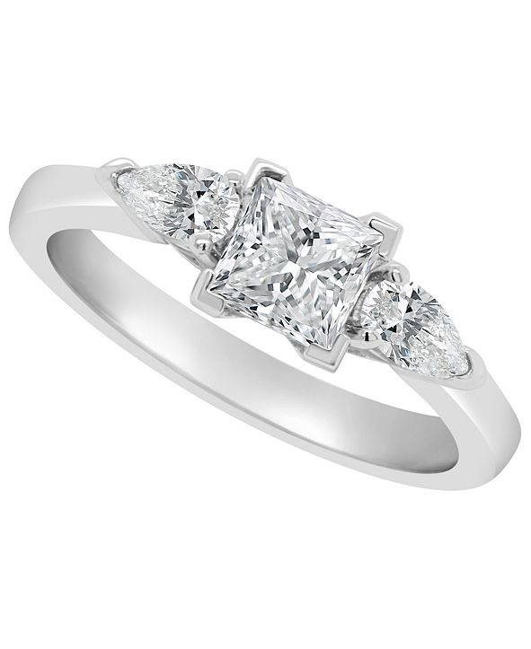 Macy's Certified Princess Cut Diamond Engagement Ring (1 1/10 ct. t.w.) in Platinum