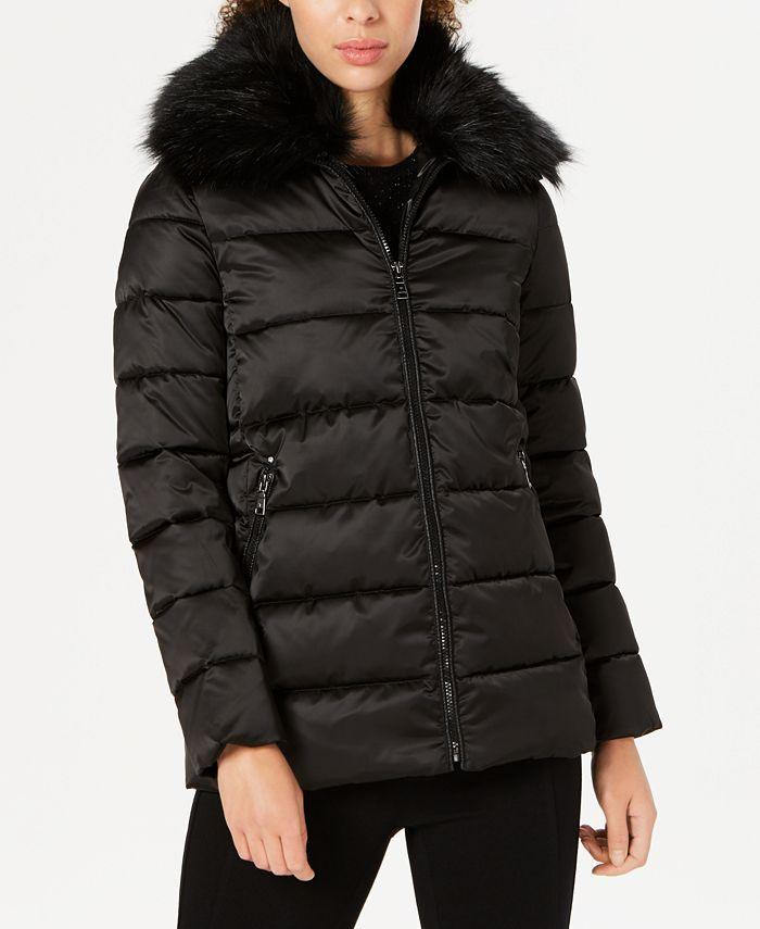 Tahari - Faux-Fur-Collar Puffer Coat
