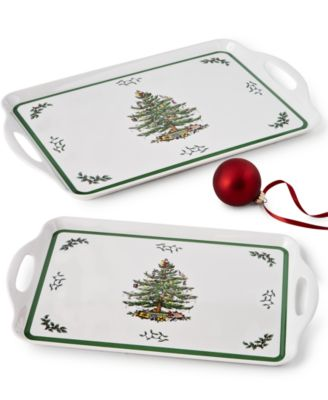 CLOSEOUT! Christmas Tree Melamine Trays, Set of 2
