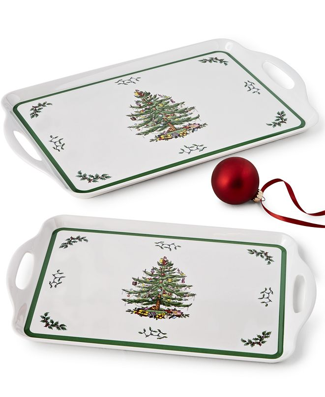 Spode CLOSEOUT! Christmas Tree Melamine Trays, Set of 2
