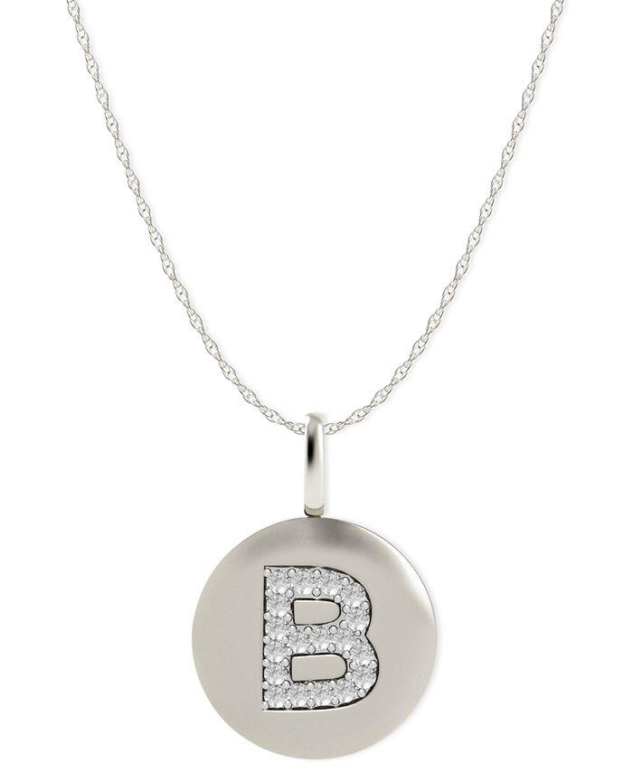 Macy's - 14k White Gold Necklace, Diamond Accent Letter B Disk Pendant