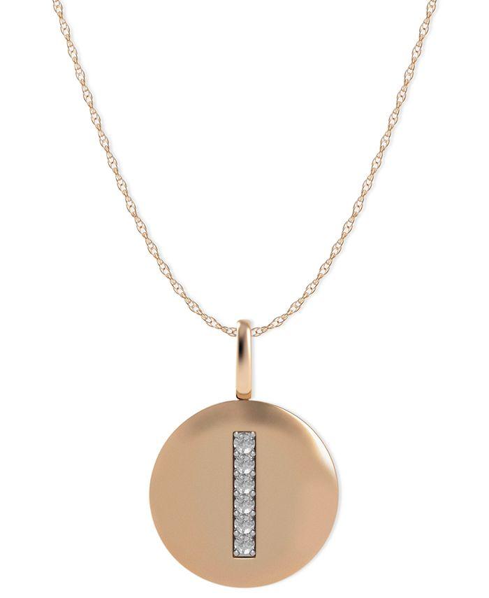 Macy's - 14k Rose Gold Necklace, Diamond Accent Letter I Disk Pendant