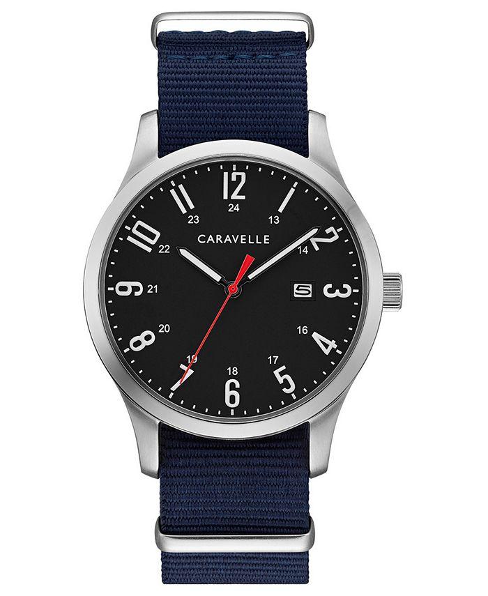 Caravelle - Men's Blue Nylon Strap Watch 40mm