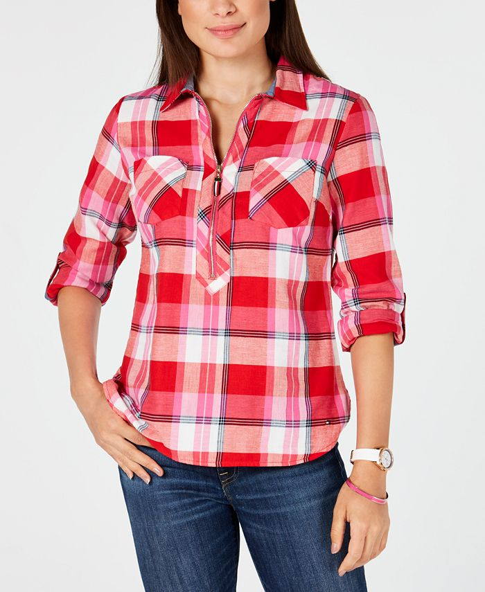 Tommy Hilfiger - Cotton Backcountry Plaid Zip Shirt
