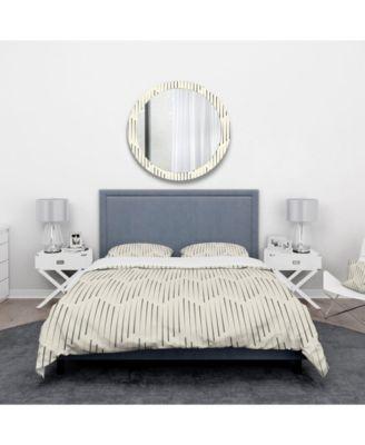 Designart 'Zigzag Background Minimal Striped Design' Scandinavian Duvet Cover Set - King
