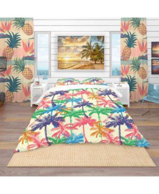 Designart 'Palm Pattern A' Tropical Duvet Cover Set - King