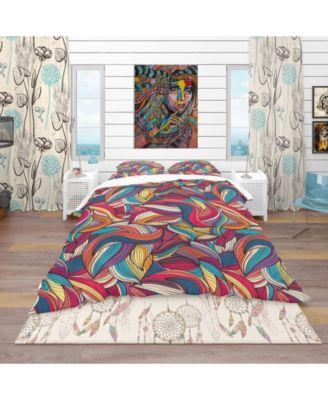 Designart 'Colorful Wave Hand-Drawn Pattern' Vintage Duvet Cover Set - Queen