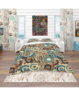 Designart 'Floral Pattern With Doodles and Cucumbers' Bohemian and Eclectic Duvet Cover Set - Queen
