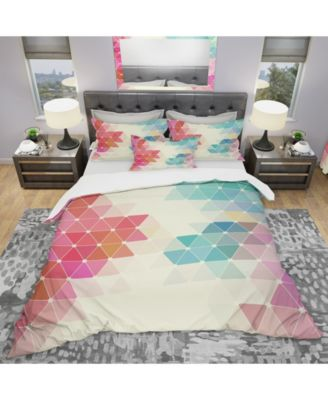 Designart 'Colorful Abstract Geometric Pattern' Modern Duvet Cover Set - Twin
