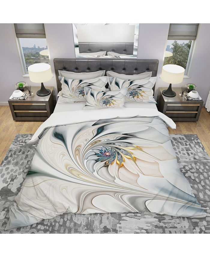 Design Art Designart White Stained Glass Floral Art Modern And Contemporary Duvet Cover Set King Reviews Duvet Covers Bed Bath Macy S