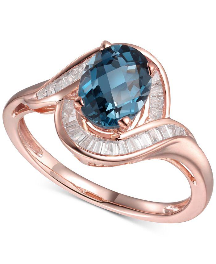 Macy's - London Blue Topaz (1-3/8 ct. t.w.) & Diamond (1/4 ct. t.w.) Swirl Ring in 14k Rose Gold