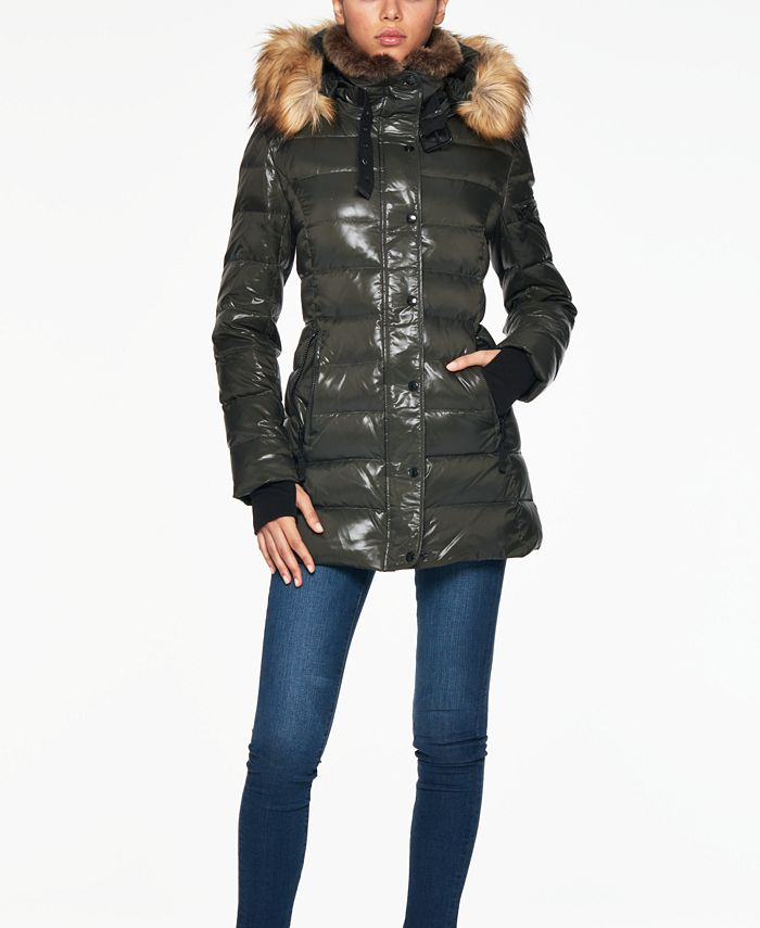 S13 - Chelsea Faux-Fur-Trim Hooded Puffer Coat